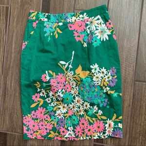 Anthropologie Odille Abronia Floral Green Skirt 8